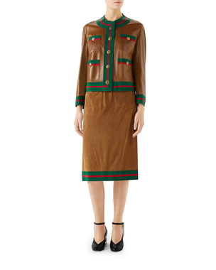 73818b8a5b1bb4 Gucci Ribbon-Trim Button-Front Leather Jacket Light Suede Pull-On Midi Skirt