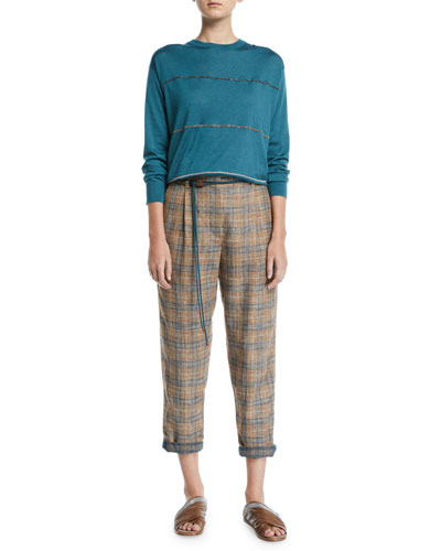 Multicolor Monili-Striped Cashmere-Silk Sweater and Matching Items