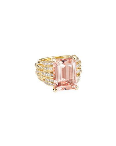Tides 18k Gold Diamond & Morganite Wide Rings