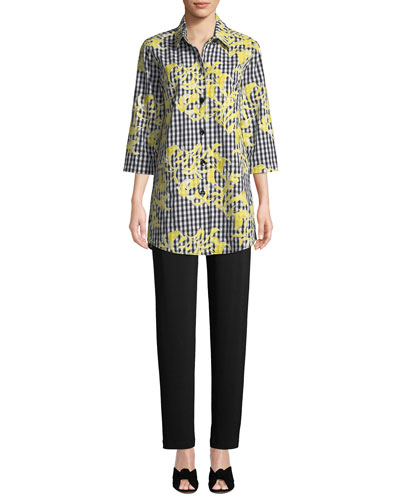 Hello Yellow Embroidered Button-Front Gingham Tunic and Matching Items
