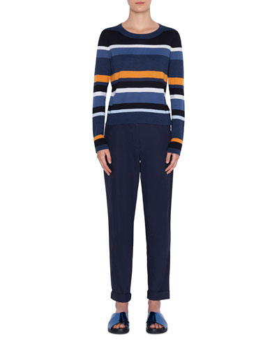 Crewneck Memphis Glass-Striped Wool Sweater and Matching Items