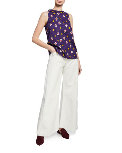 High-Neck Sleeveless Multi-Patterned Cotton Top and Matching Items