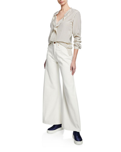 Striped V-Neck Long-Sleeve Silk Blouse w/ Flounce Detail and Matching Items