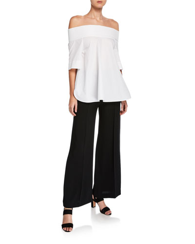 Off-the-Shoulder Elbow-Sleeve Poplin Top and Matching Items