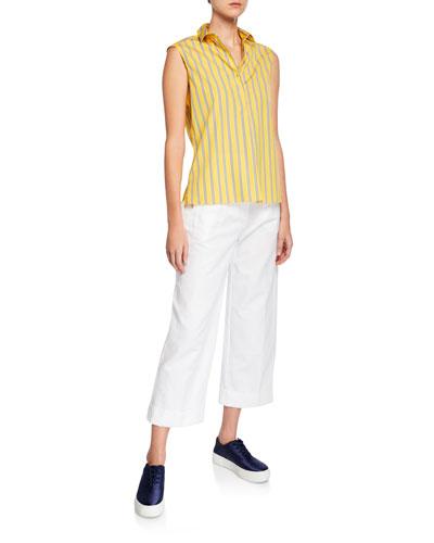 Sleeveless Striped Cotton Poplin Shirt and Matching Items