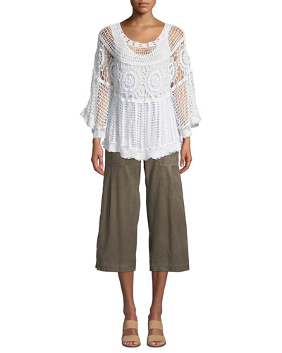 Pastoral Scoop-Neck Crochet Poncho Top w/ Built-in Tank Top  Plus Size and Matching Items