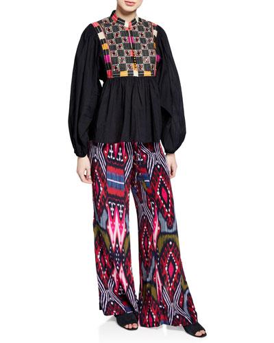 Simone Ikat Striped Wide Leg Pajama Pants and Matching Items