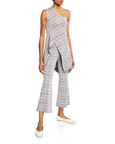 Plaid Jersey One-Shoulder Top and Matching Items