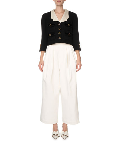 Contrast-Lapel Boucle Crop Blazer and Matching Items