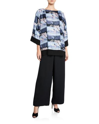 Mount-Fuji Print Silk Tunic and Matching Items