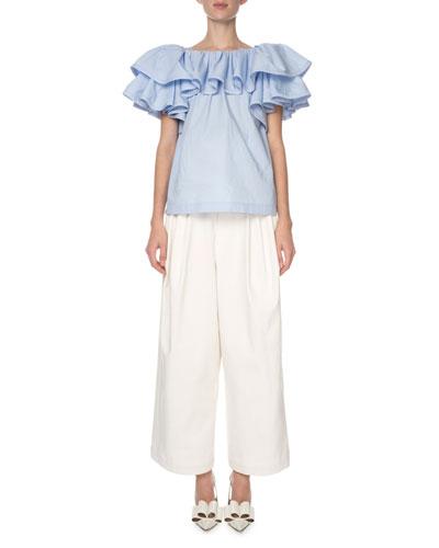 Tiered-Ruffle Poplin T-Shirt  Light Blue and Matching Items