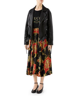 Gucci Oversized Hand-Painted Soft-Leather Biker Jacket Intrigue Floral  Tassel Print Pleated Silk 65fce31e87