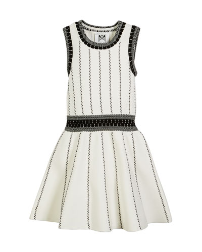 Vertical Textural Knit Flare Dress, Size 4-6  and Matching Items