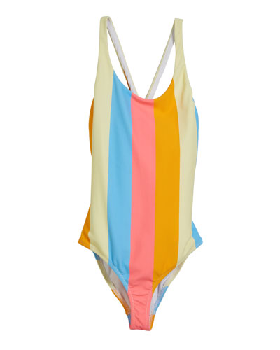 Neon Stripe Scoop One-Piece Swimsuit, Size 4-6  and Matching Items