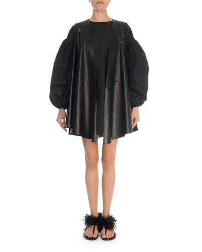 Lightweight Draped Leather Cape and Matching Items