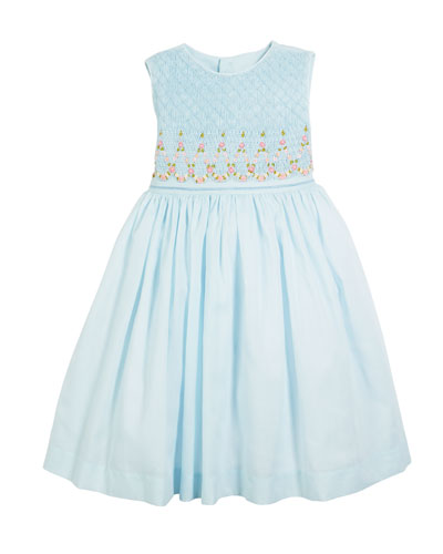 Smocked Sleeveless Bow-Back Dress, Size 2-4T  and Matching Items