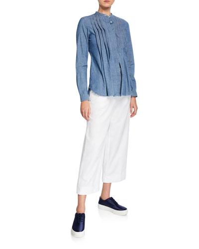 Crewneck Long-Sleeve Pintuck Chambray Shirt and Matching Items