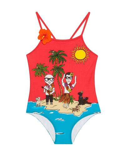 Beach Scene One-Piece Swimsuit