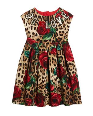 cdcacac8b98 Dolce   Gabbana Leopard Rose Print Interlock Dress w  DG Love Patches