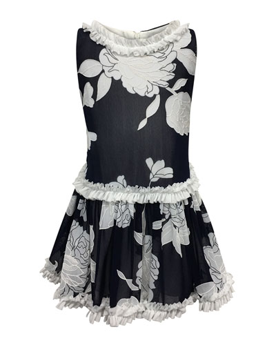 Peony Embroidered Ruffle-Trim Dress