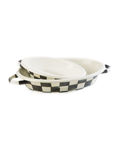 Courtly Check Enamel Oval Medium Gratin Dish  and Matching Items