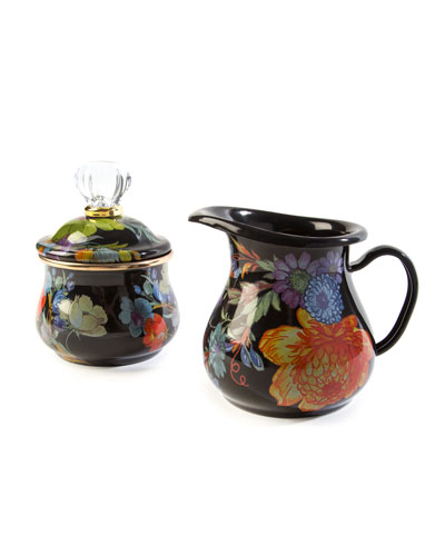 Flower Market Lidded Sugar Bowl  Black  and Matching Items