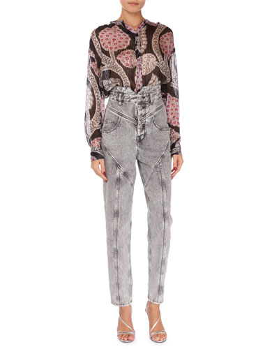 Daws Long-Sleeve Summer-Night Print Blouse and Matching Items