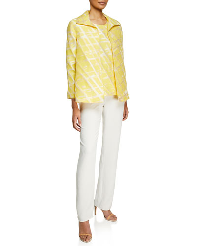 Citrus Abstract-Print Jacquard Jacket  Petite and Matching Items