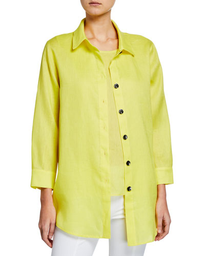 Tissue Linen Boyfriend Shirt  Plus Size and Matching Items