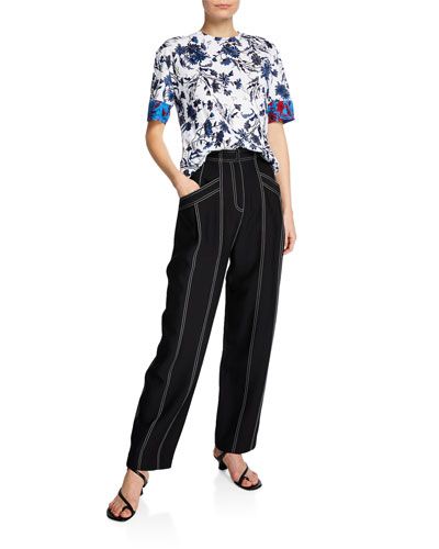 Wide-Leg Topstitched Pants and Matching Items