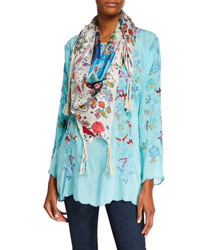 Nico Scoop-Neck Embroidered Georgette Blouse  and Matching Items