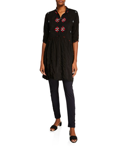Pocca Half-Sleeve Embroidered Tunic Dress  and Matching Items