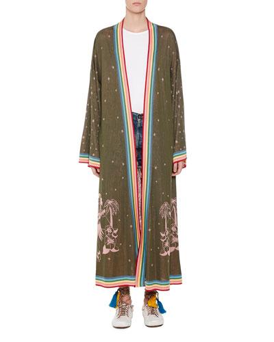 Long Hawaiian Map Silk Kimono Cardigan and Matching Items