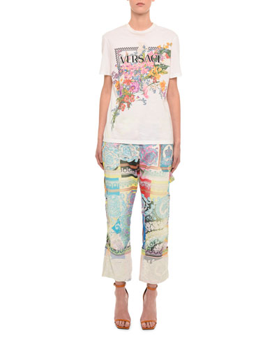 Short-Sleeve Floral Logo Graphic Tee and Matching Items