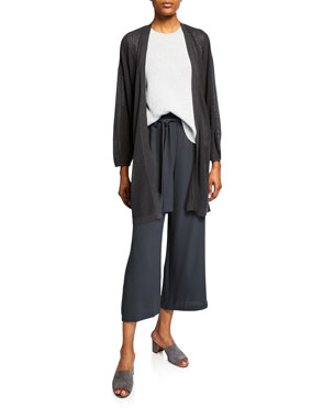 0f6b254bd61 Eileen Fisher Silver Sparkle Crewneck Sleeveless Sweater Organic Linen  Blouson-Sleeve Long Cardigan Cropped Belted