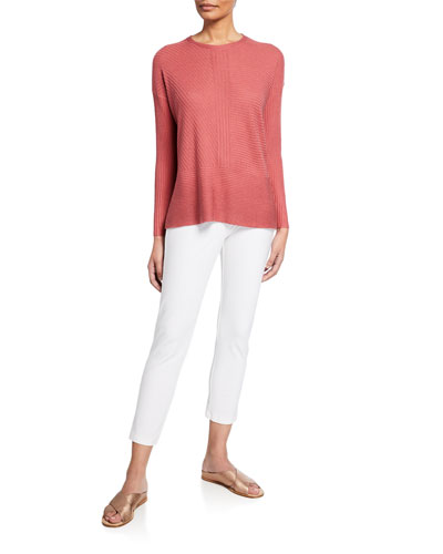 Jewel-Neck Long-Sleeve Silk Cashmere Sweater and Matching Items