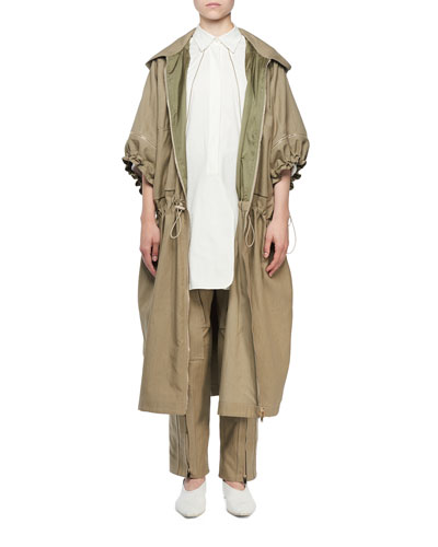 Zip-Front Washed Cotton Caban Coat and Matching Items