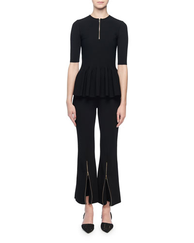 Short-Sleeve Zip-Front Peplum Top and Matching Items
