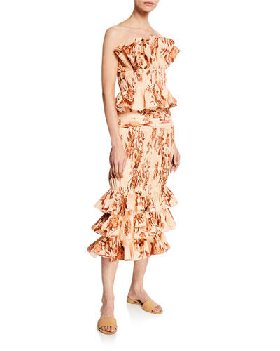 Floral Print Ruched Ruffled Poplin Skirt and Matching Items