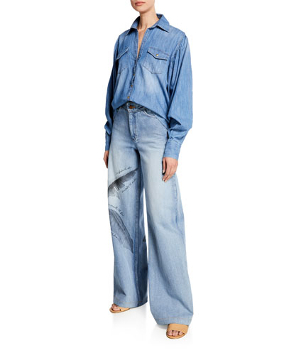 High-Rise Wide Leg Feather Print Jeans and Matching Items