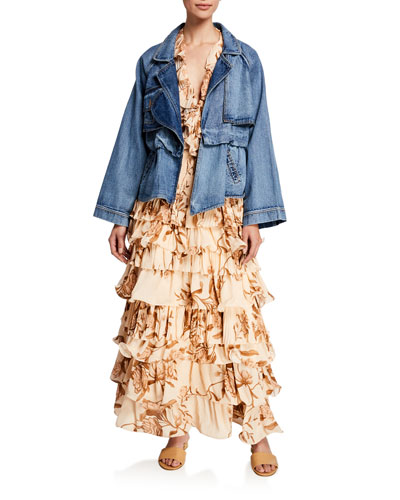 Waterdrops Denim Cargo Jacket and Matching Items