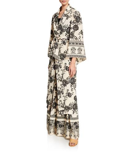 Floral Print Long-Sleeve Kimono Top and Matching Items