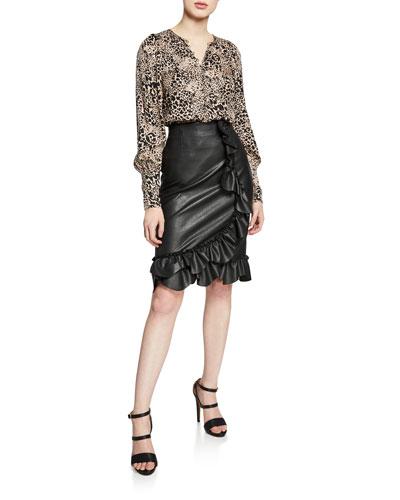Vegan Leather Ruffle Skirt and Matching Items