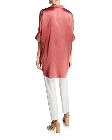 Hammered Silk Button-Front Elbow-Sleeve Shirt