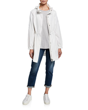 de2b8972021b Eileen Fisher Water-Repellant Hooded Organic Cotton Nylon Jacket Slubby  Organic Cotton Tee Shirt