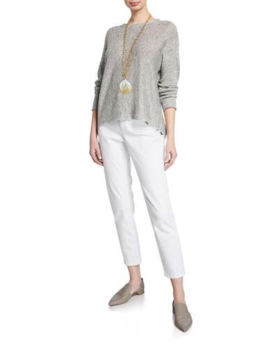 Long-Sleeve Linen-Blend Melange Sweater and Matching Items