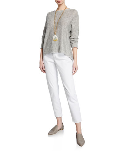 Long-Sleeve Linen-Blend Melange Sweater and Matching Items  Petite