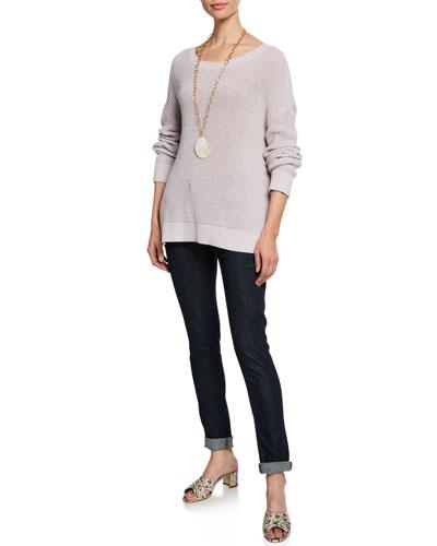 Organic Cotton Jewel-Neck Long-Sleeve Sweater and Matching Items