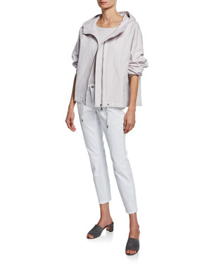 08fe8e60576e Eileen Fisher Sueded Canvas Hooded Jacket Linen Crepe Long-Sleeve Sweater  Organic Cotton Stretch High