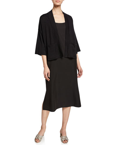 Open-Front 3/4-Sleeve Short Cardigan with Pockets and Matching Items